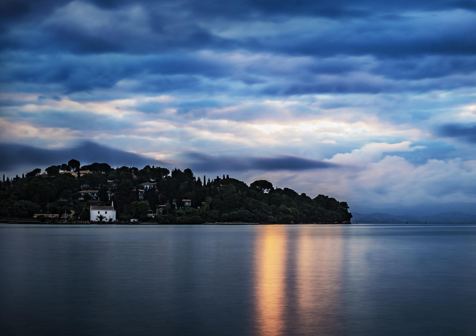 "Stephen Champion - ""Blue Dawn Over Gouvia Bay"""